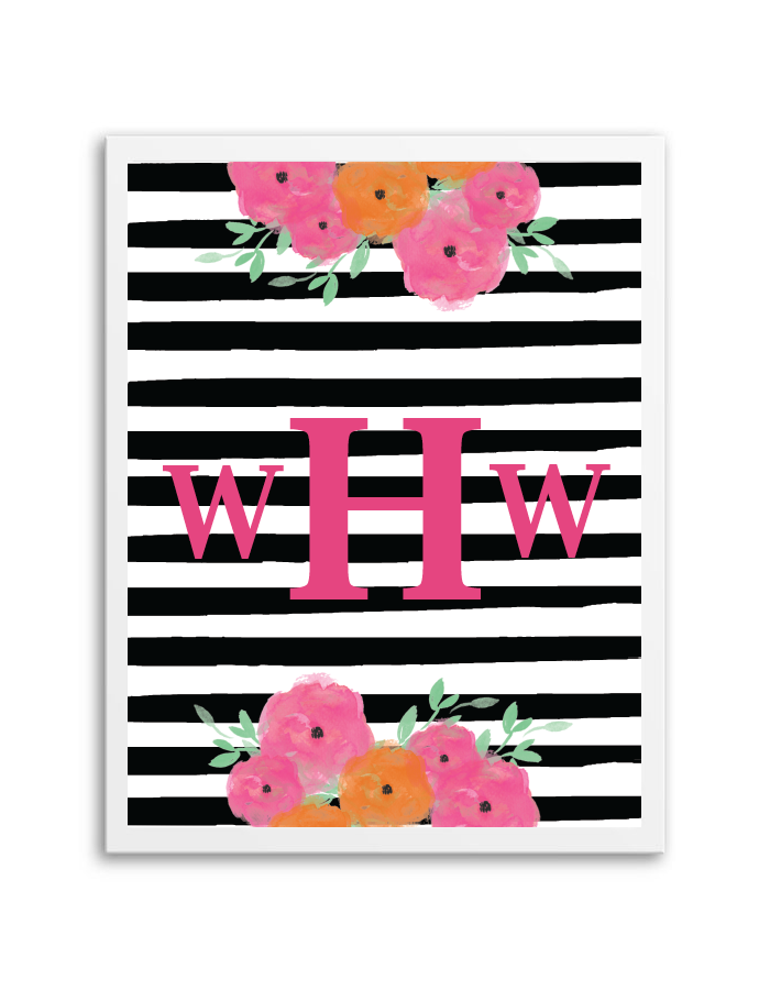 photo regarding Printable Monogram Maker named Floral Striped Monogram Company - Chicfetti