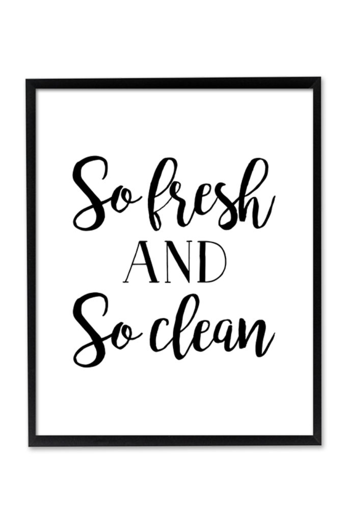 graphic about Free Printable Wall Art for Bathroom referred to as Consequently Clean and Consequently Contemporary Wall Artwork - Chicfetti
