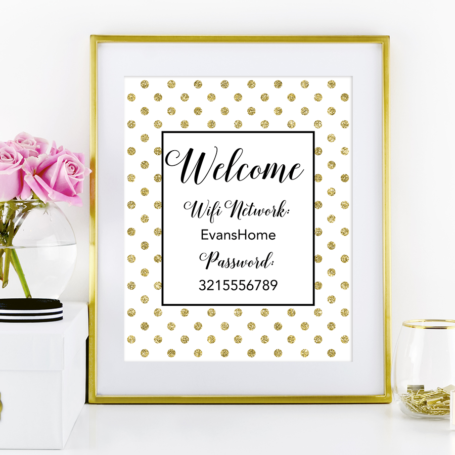 photo relating to Printable Wifi Sign identify Polka Dot Wifi Pword Indicator - Chicfetti