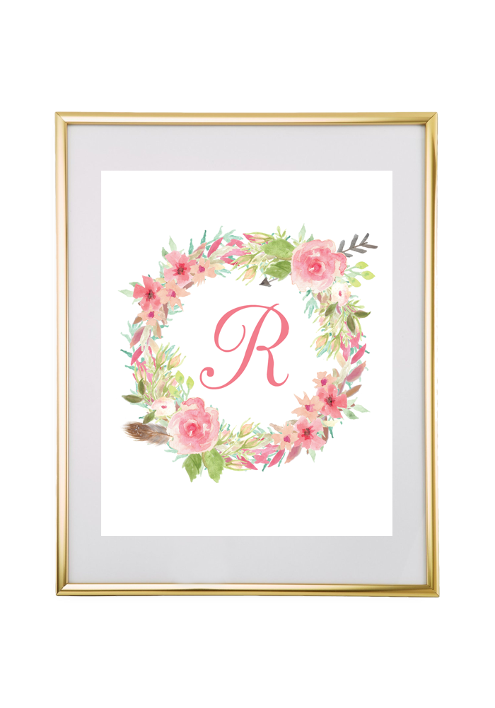 photograph relating to Free Printable Monogram known as Watercolor Floral Wreath Monogram Manufacturer - Chicfetti