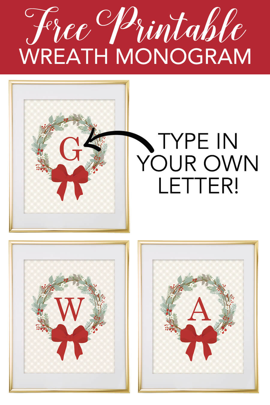 graphic relating to Printable Monogram Maker named Xmas Wreath Absolutely free Monogram Template - Chicfetti Web site