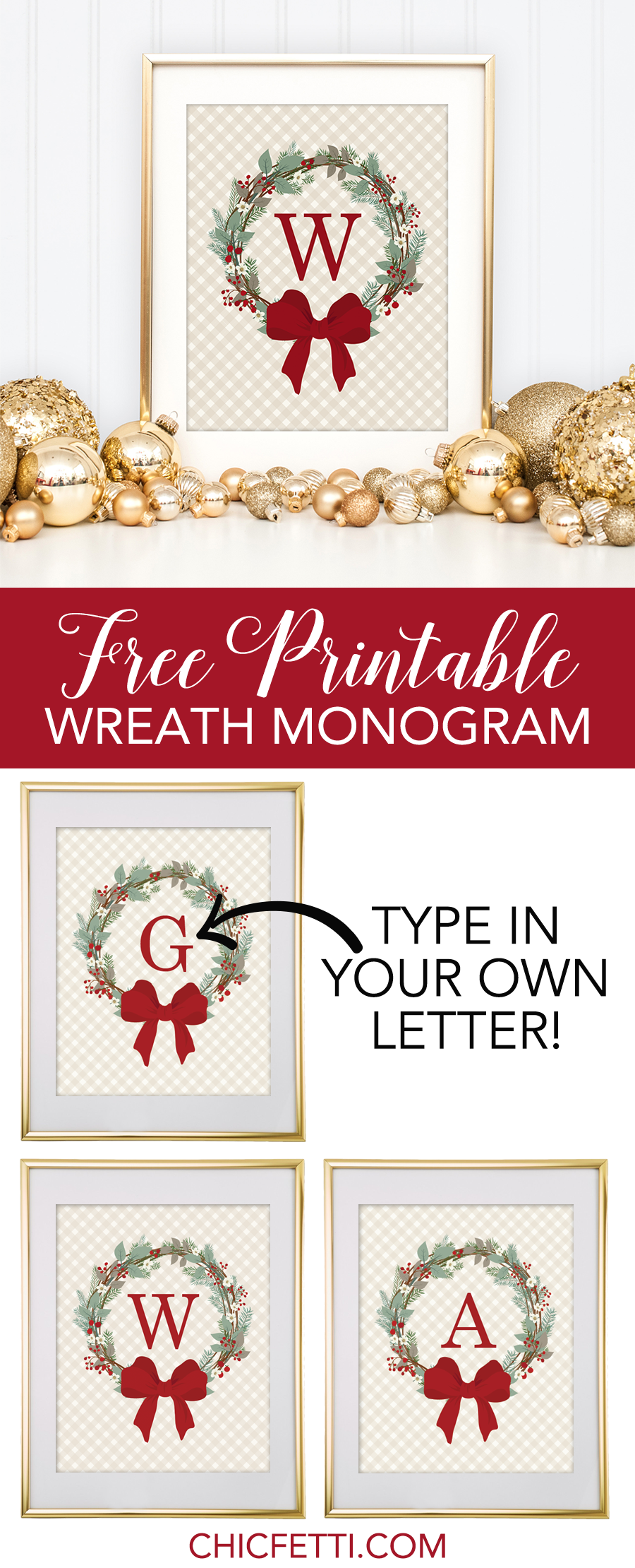 Christmas Wreath Free Monogram Template - Chicfetti Blog