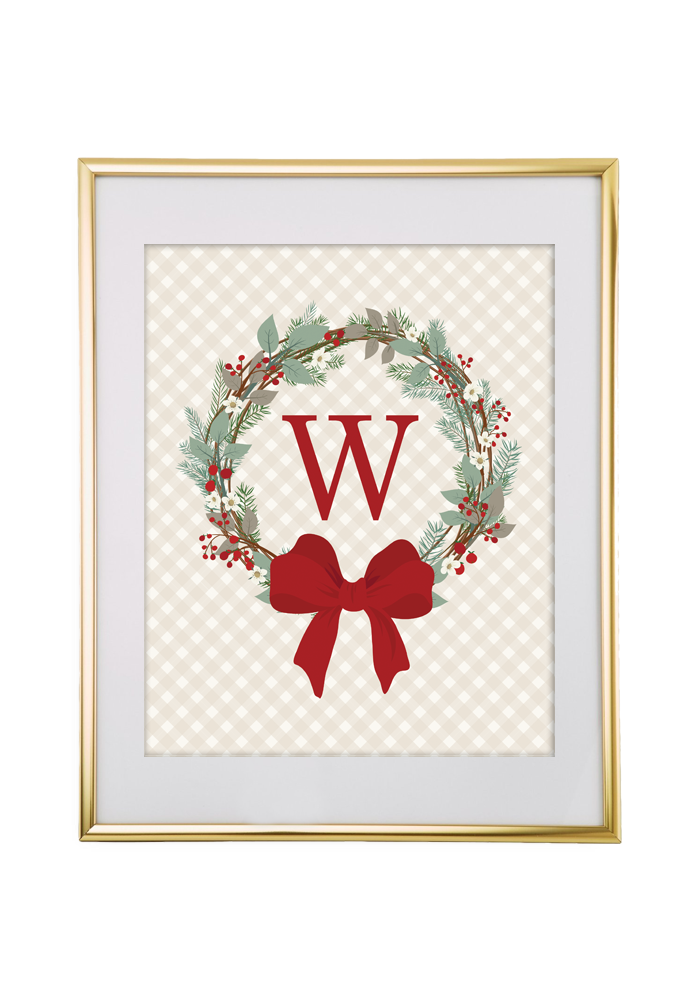 image regarding Printable Monogram Maker named Xmas Wreath Monogram Manufacturer - Chicfetti