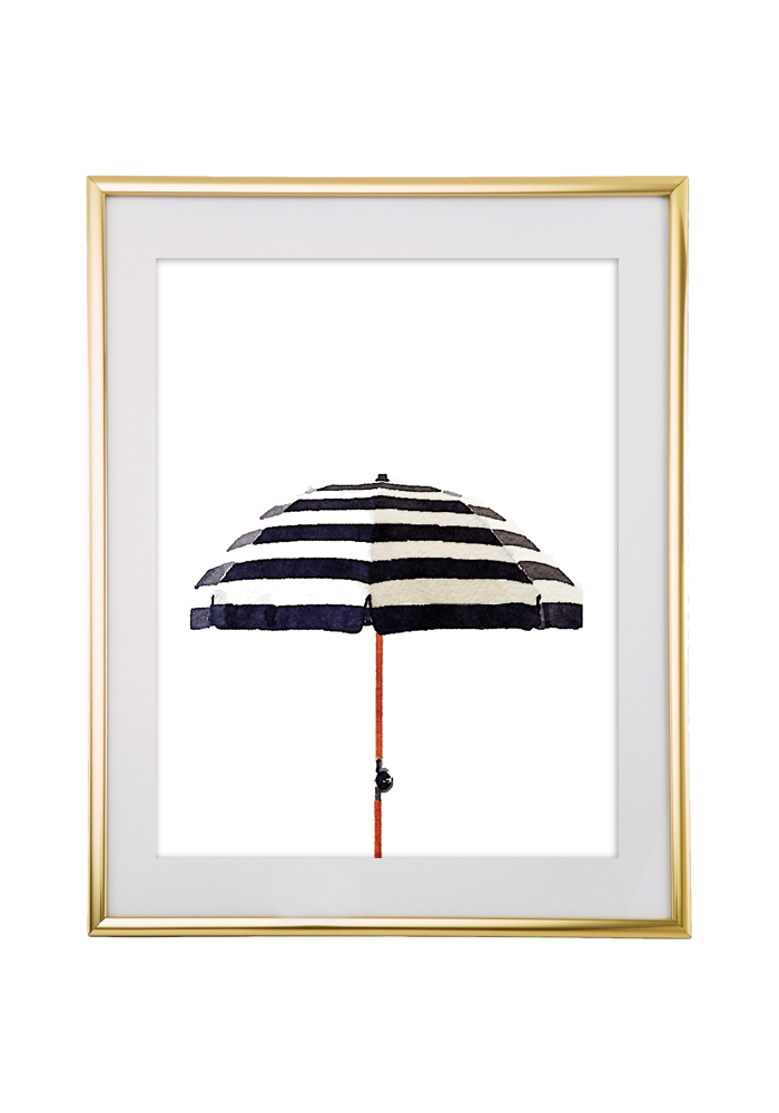 striped watercolor umbrella wall art