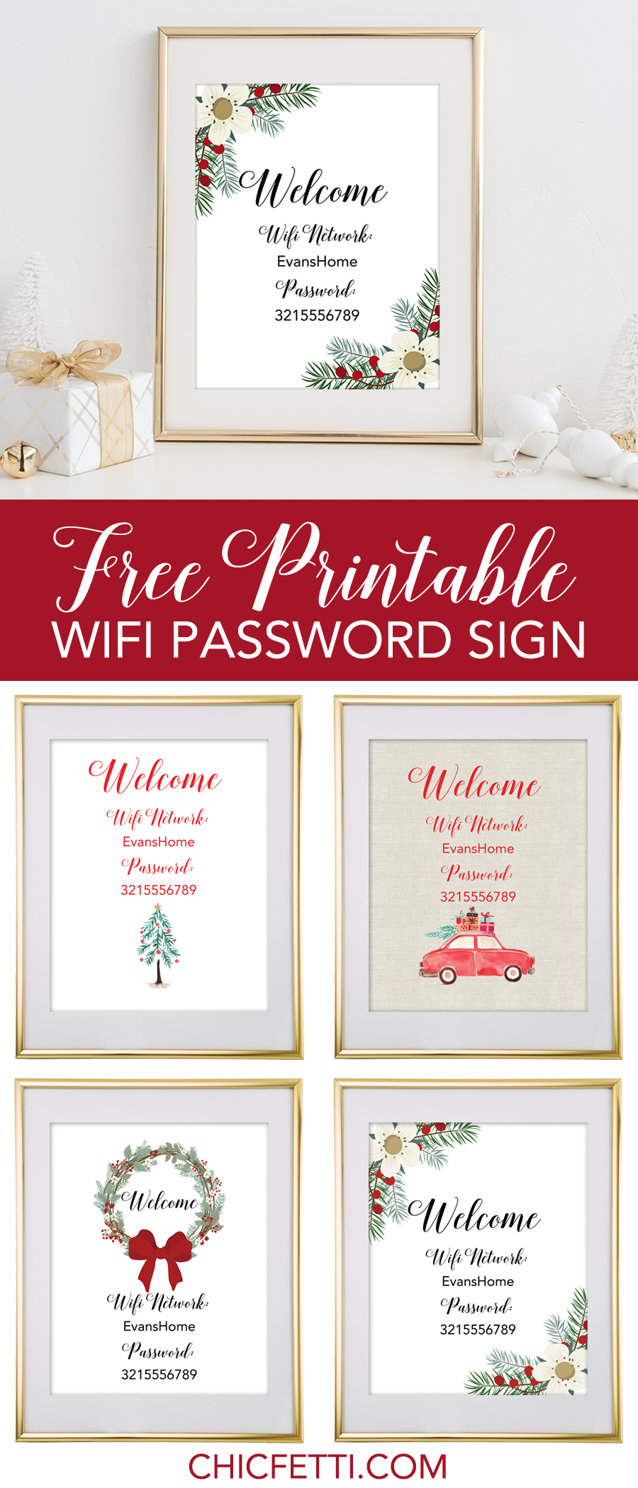 Holiday Free Printable Wifi Password Sign