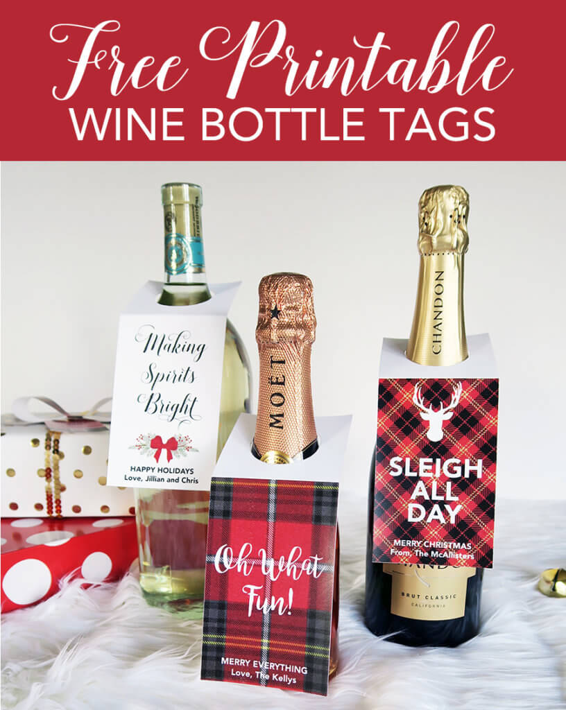 photograph regarding Printable Wine Glass Tags referred to as Xmas Cost-free Printable Wine Bottle Tags - Chicfetti Web site