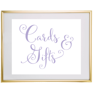 Cards And Gifts Wedding Sign Lavender