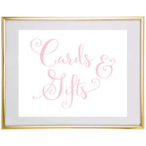 Cards And Gifts Wedding Sign Light Pink