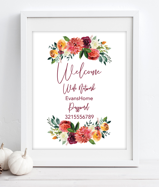 photo relating to Printable Wifi Sign identify Free of charge Printable Wifi Pword Indications for Thanksgiving - Chicfetti