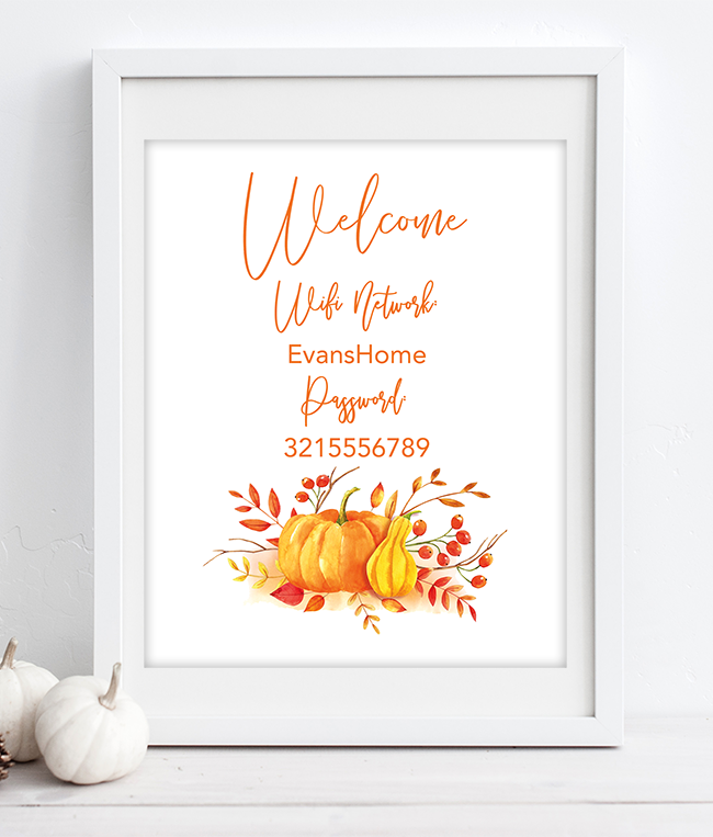 photo about Printable Wifi Sign called Totally free Printable Wifi Pword Indications for Thanksgiving - Chicfetti
