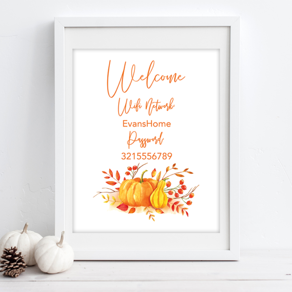Free Printable Wifi Password Signs for Thanksgiving