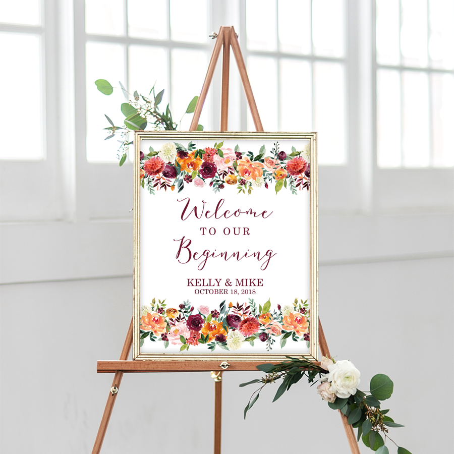 picture regarding Printable Welcome Sign titled Tumble Floral Marriage ceremony Printable Welcome Indicator