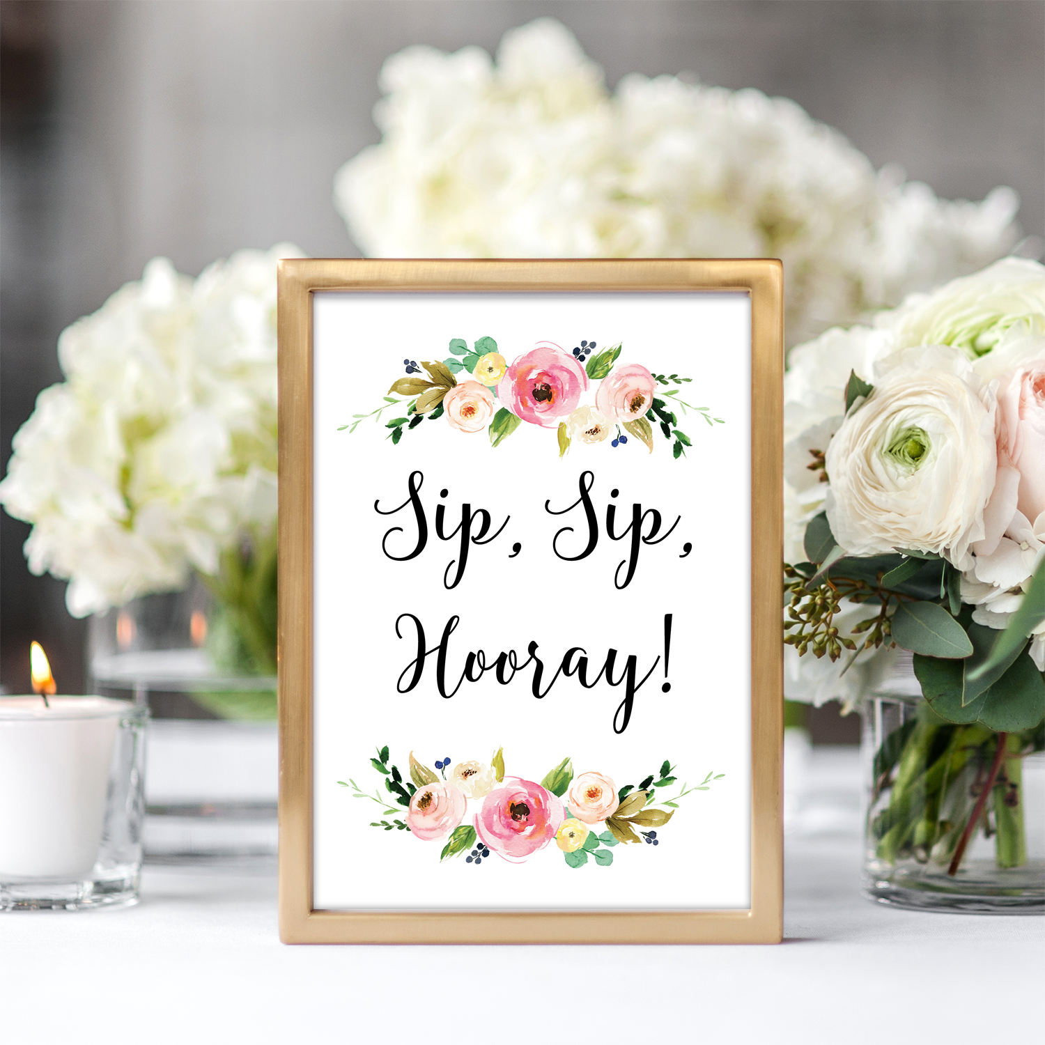 image relating to Sip Sip Hooray Printable named Floral Sip Sip Hooray Printable Signal