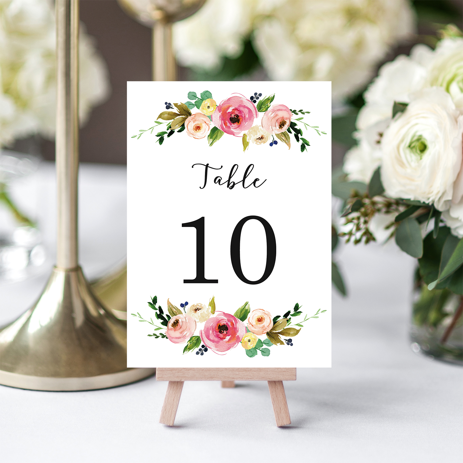 floral printable table numbers chicfetti