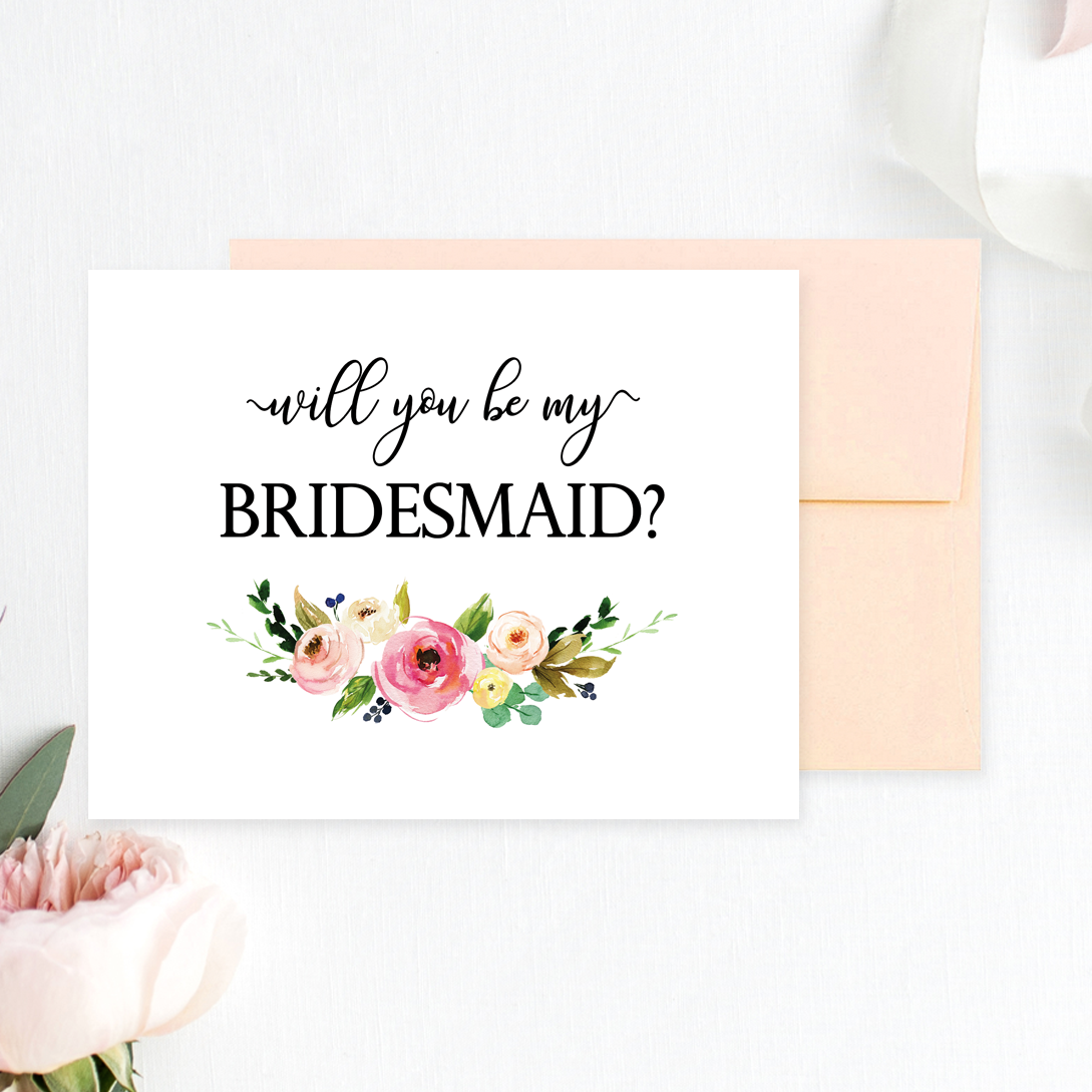 image regarding Will You Be My Bridesmaid Printable named Floral Will By yourself Be My Bridesmaid Printable Playing cards