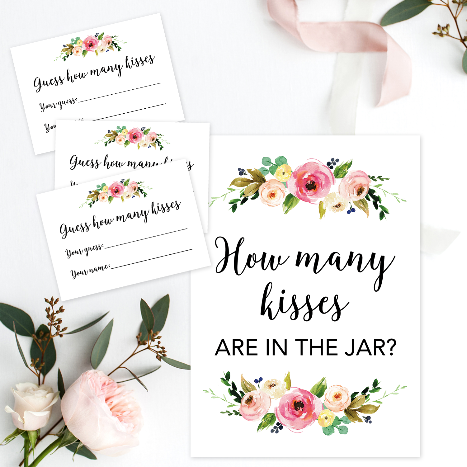 graphic about Guess How Many in the Jar Printable referred to as Floral Printable How A great number of Kisses