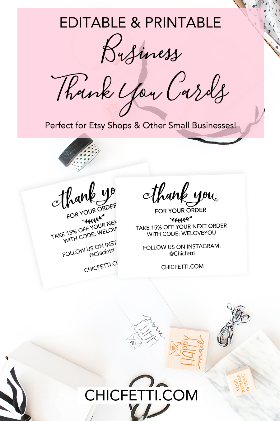 picture about Printable Thank You Cards for Students named Printable Thank Oneself Playing cards for Your Business enterprise - Print your individual