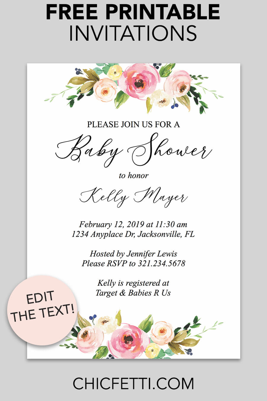Floral printable baby shower invitation chicfetti free printable baby shower invitation download and print these free printable baby shower invitation templates filmwisefo