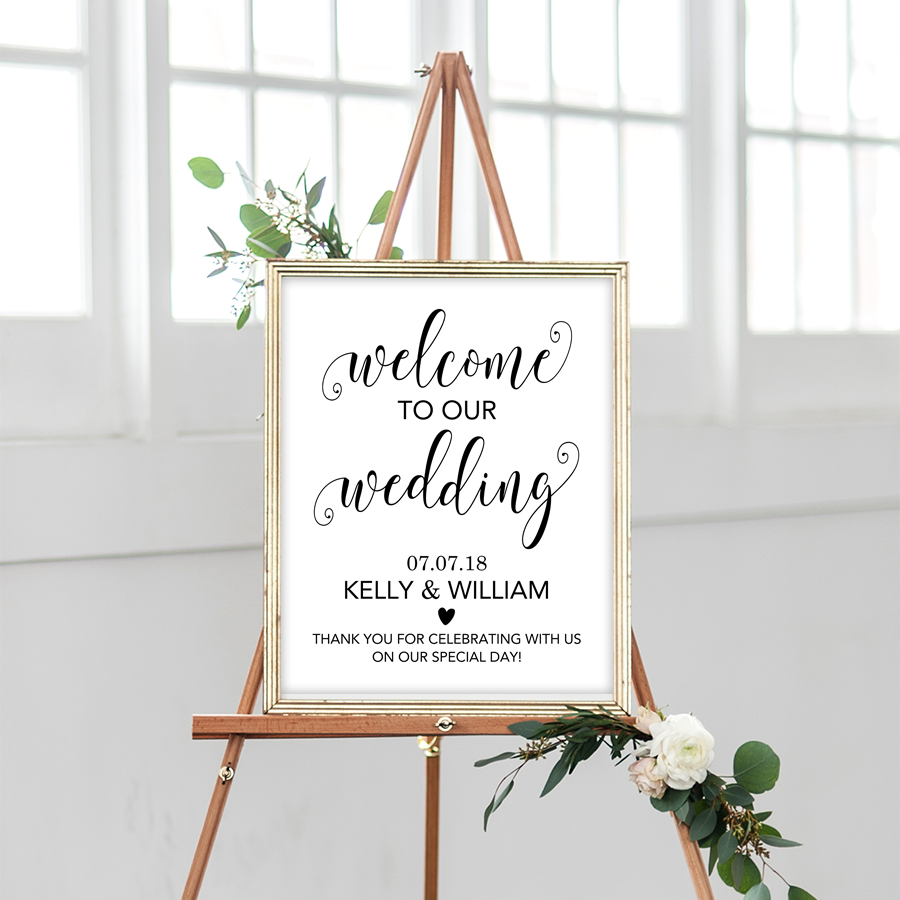 Wedding Welcome Sign.Printable Wedding Welcome Sign Black