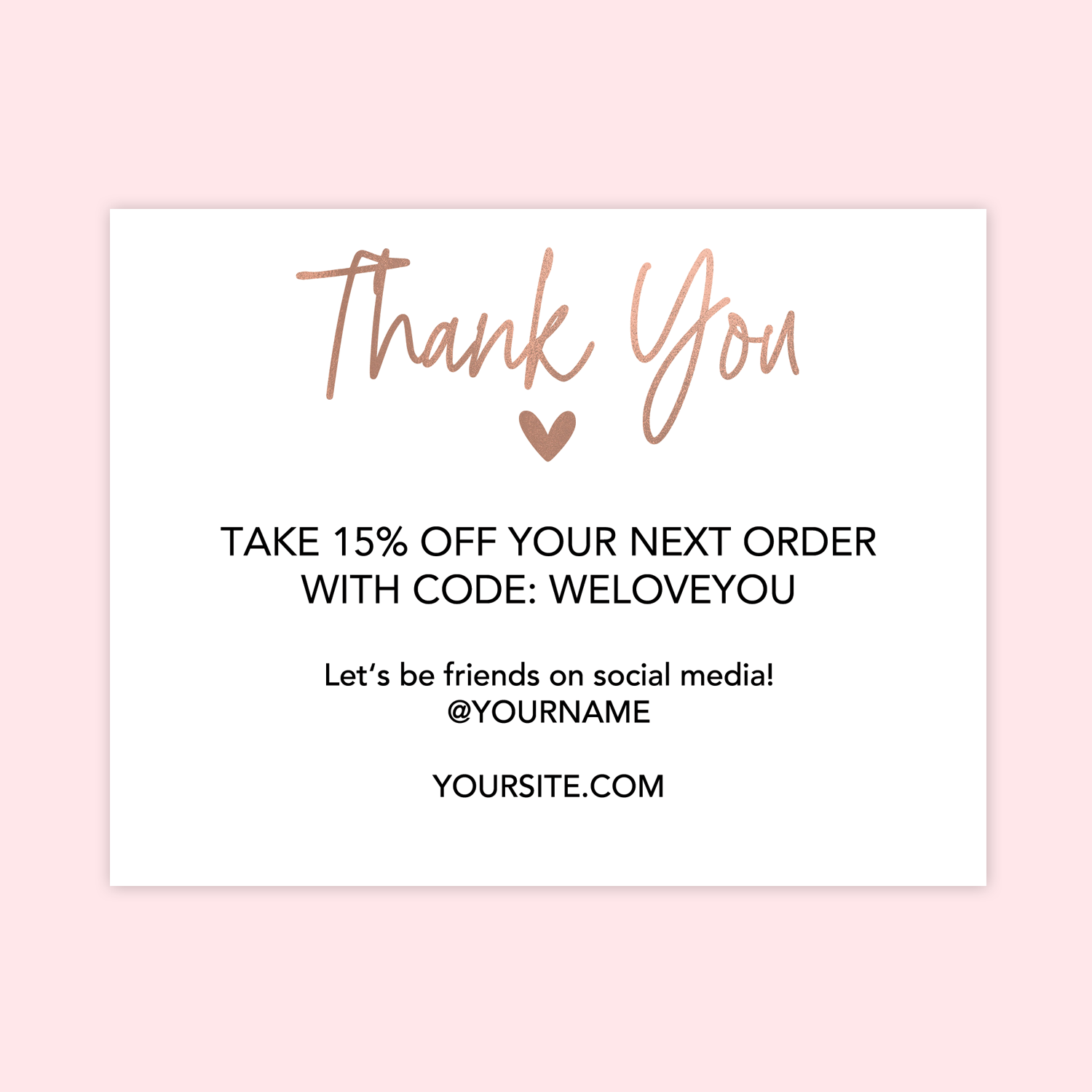 Rose Gold Heart Printable Thank You Cards for Business - Chicfetti