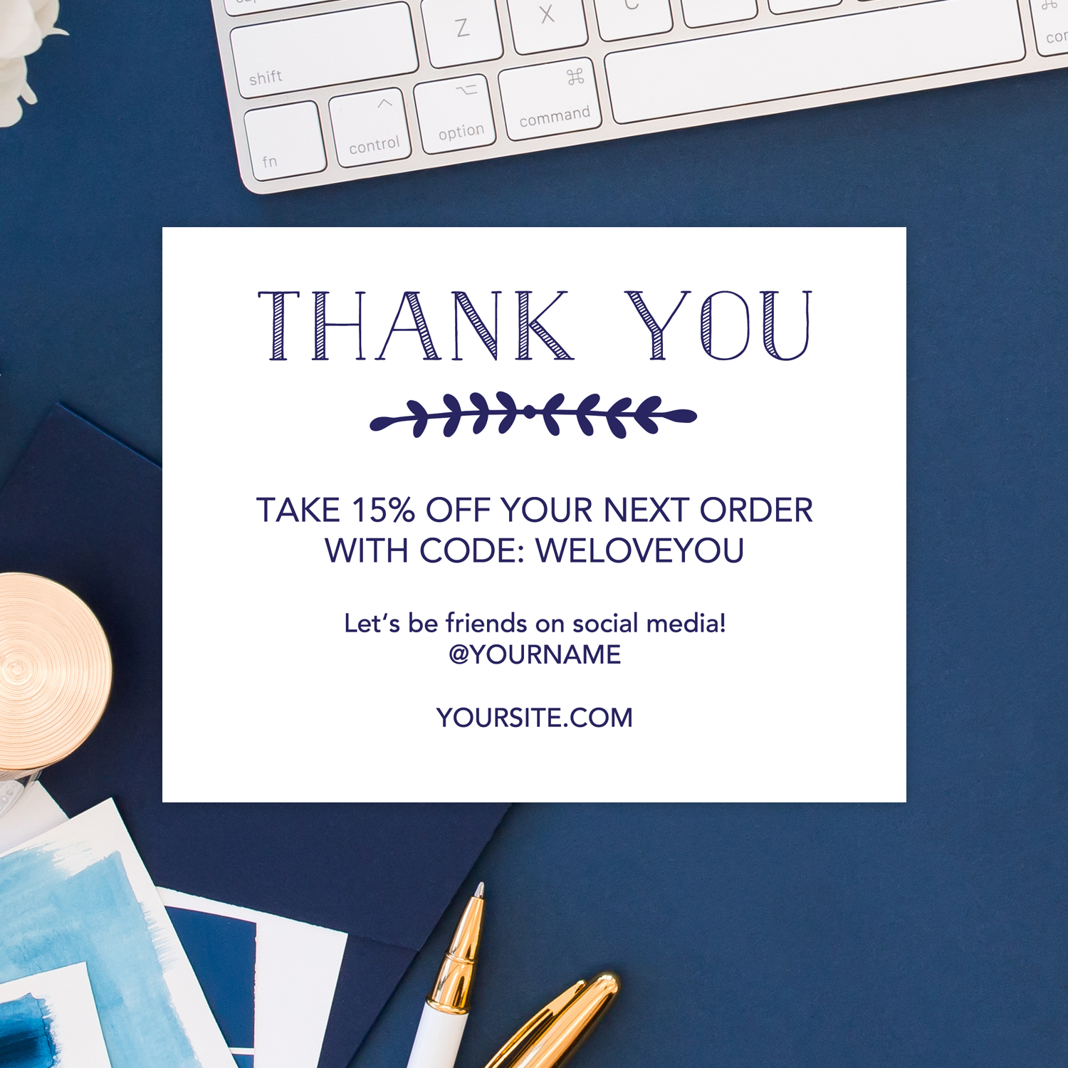 Navy Printable Thank You Cards For Business Chicfetti