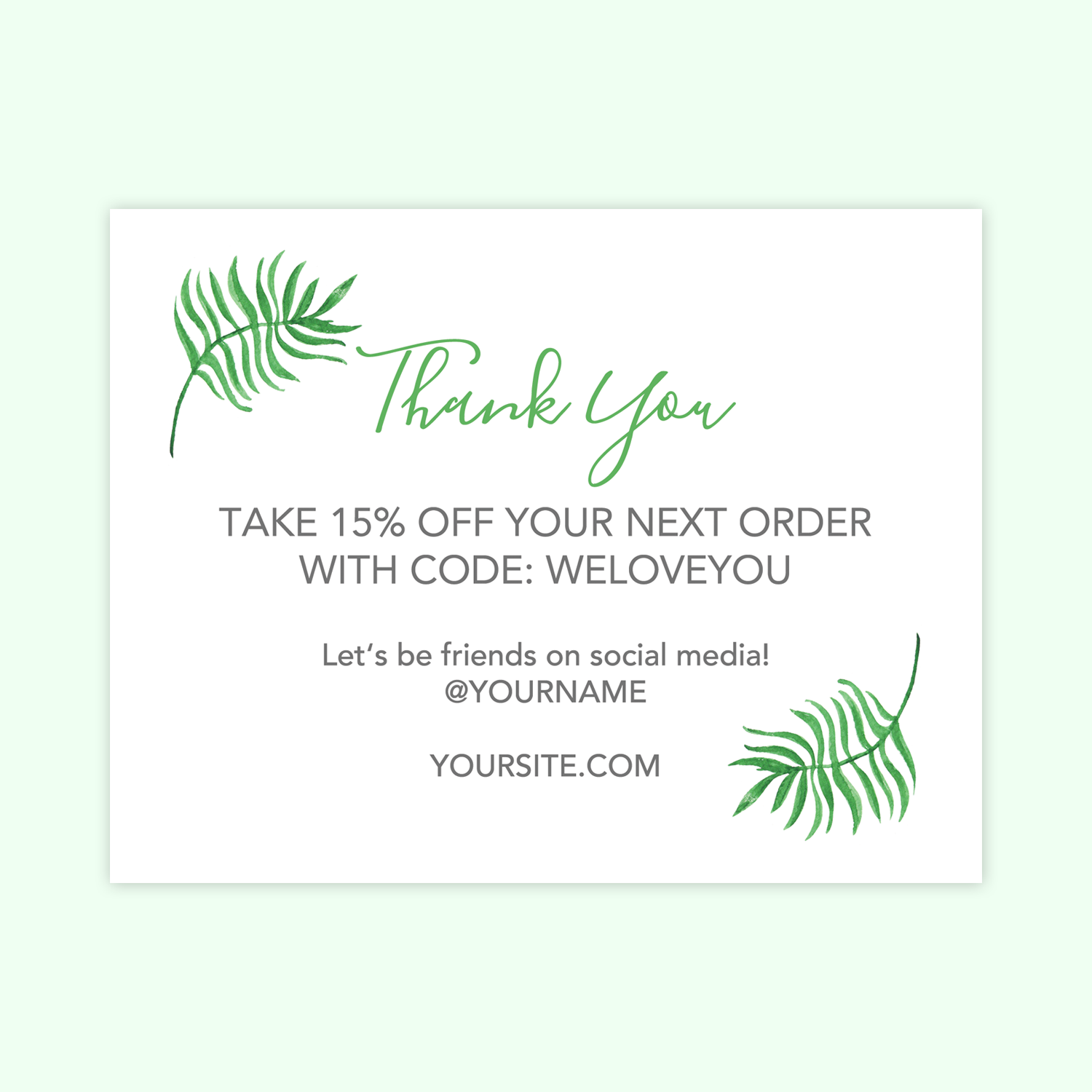 Palms Printable Thank You Cards For Business Chicfetti
