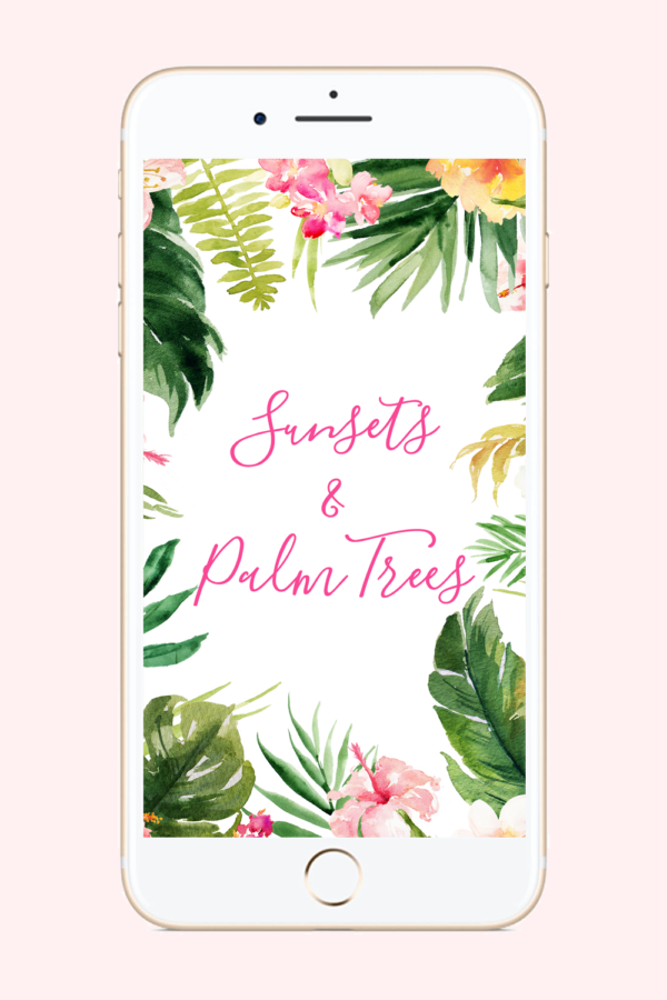Sunsets & Palm Trees Phone Background