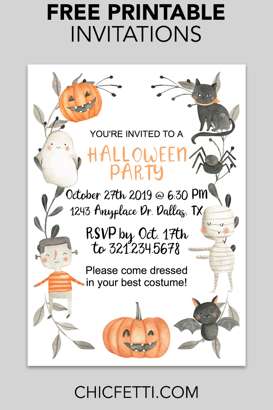 cute halloween printable invitation - chicfetti