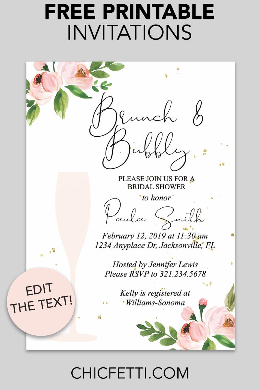 Bridal Shower Printable Invitation (Floral Bubbly) - Chicfetti