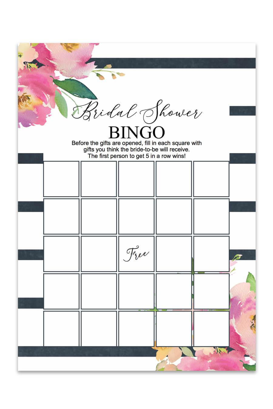 striped floral printable bridal shower bingo