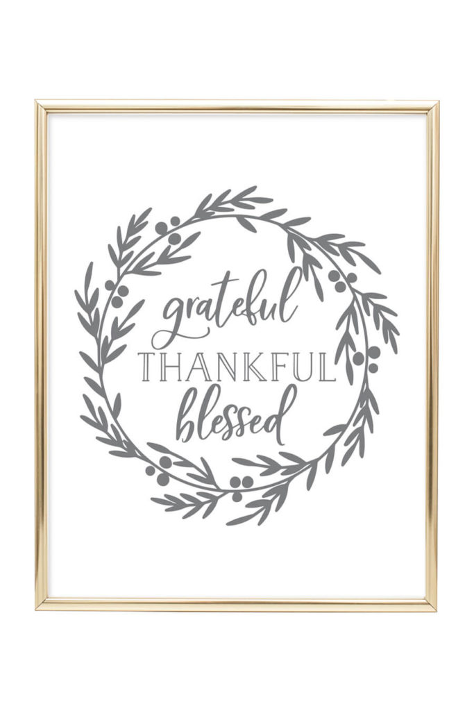 graphic about Thankful Printable referred to as Thankful Grateful Lucky Printable Wall Artwork - Chicfetti