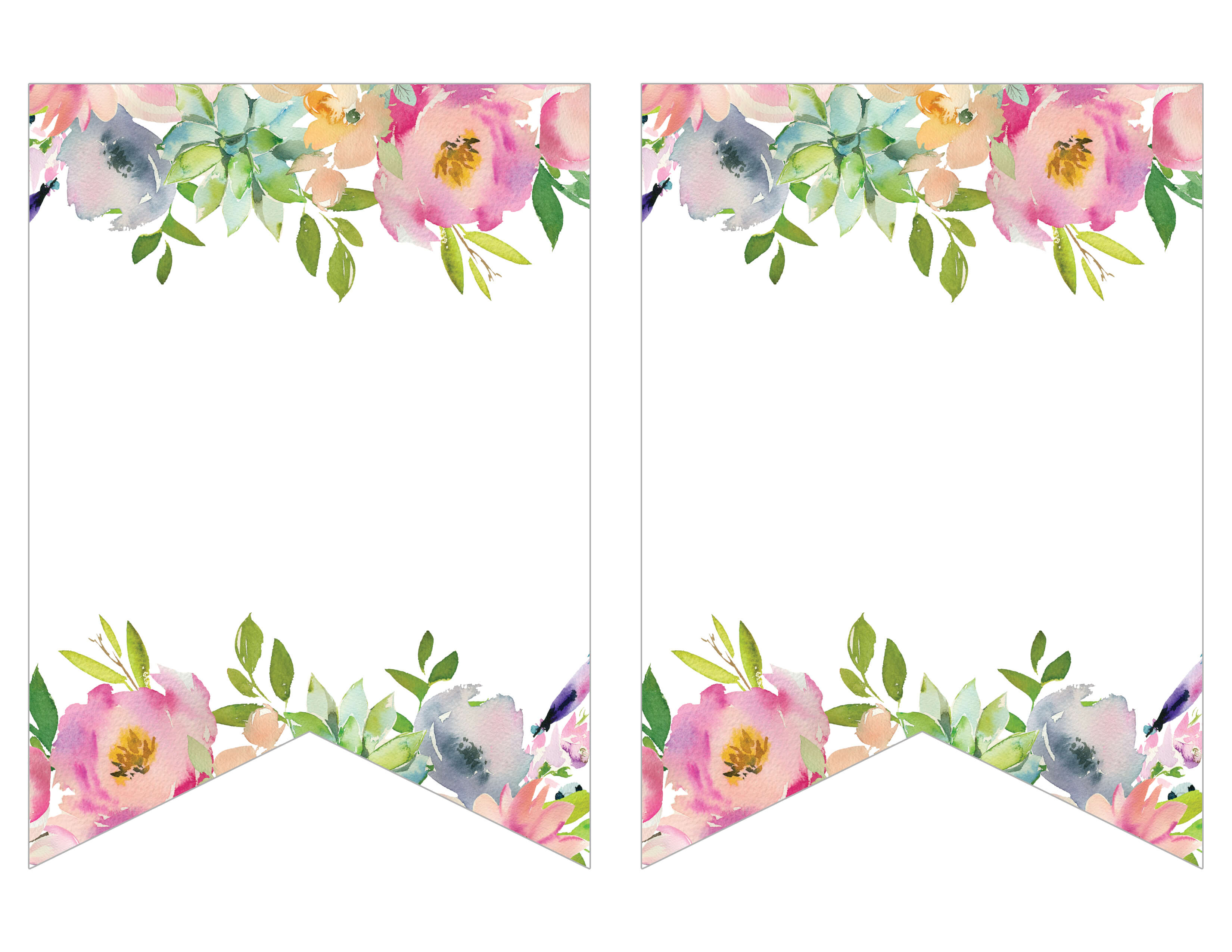 Pink Floral Printable Banner Chicfetti