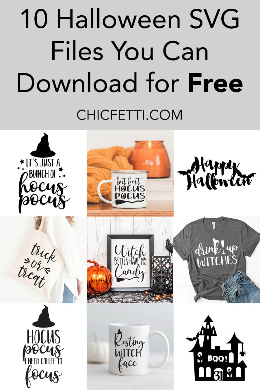 10 Halloween SVG Files You Can Download for Free - Use these Free SVG files to make Halloween crafts or Halloween home decor. They are free to download and there are 10 files to choose from. #svg #svgfiles #freesvg #halloween #halloweenideas #halloweencrafts #cricut #silhouettecameo