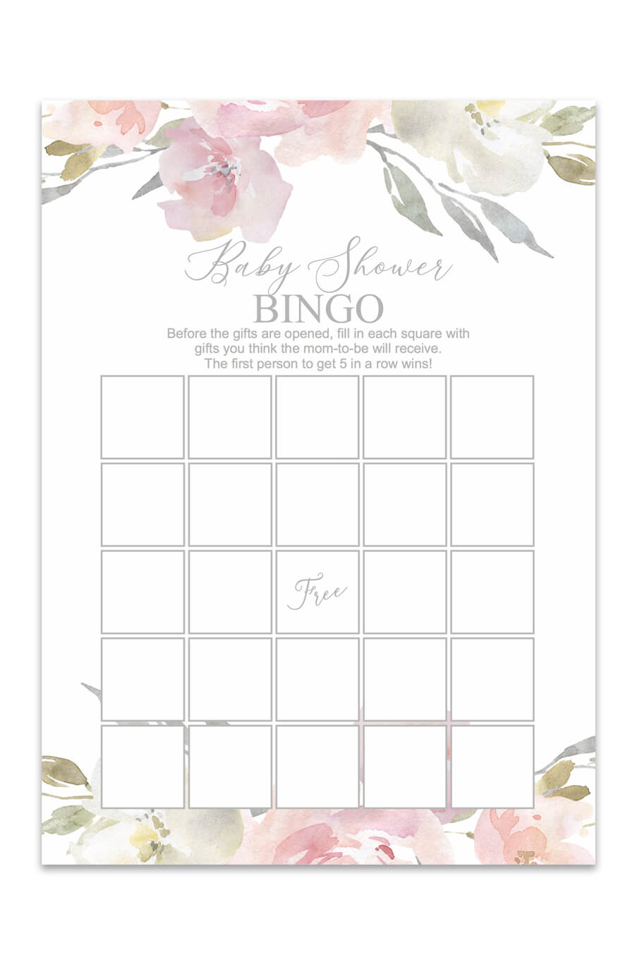 graphic about Free Printable Baby Shower Bingo called Blush Floral Printable Little one Shower Bingo - Chicfetti