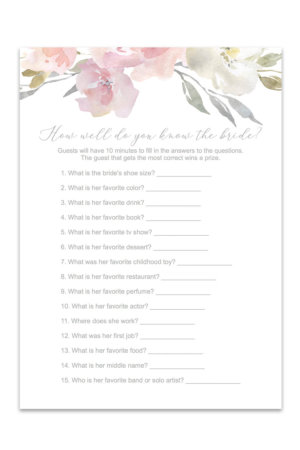 image regarding Free Printable Bridal Shower Games How Well Do You Know the Bride referred to as Cost-free Printable Bridal Shower Video games Archives - Chicfetti