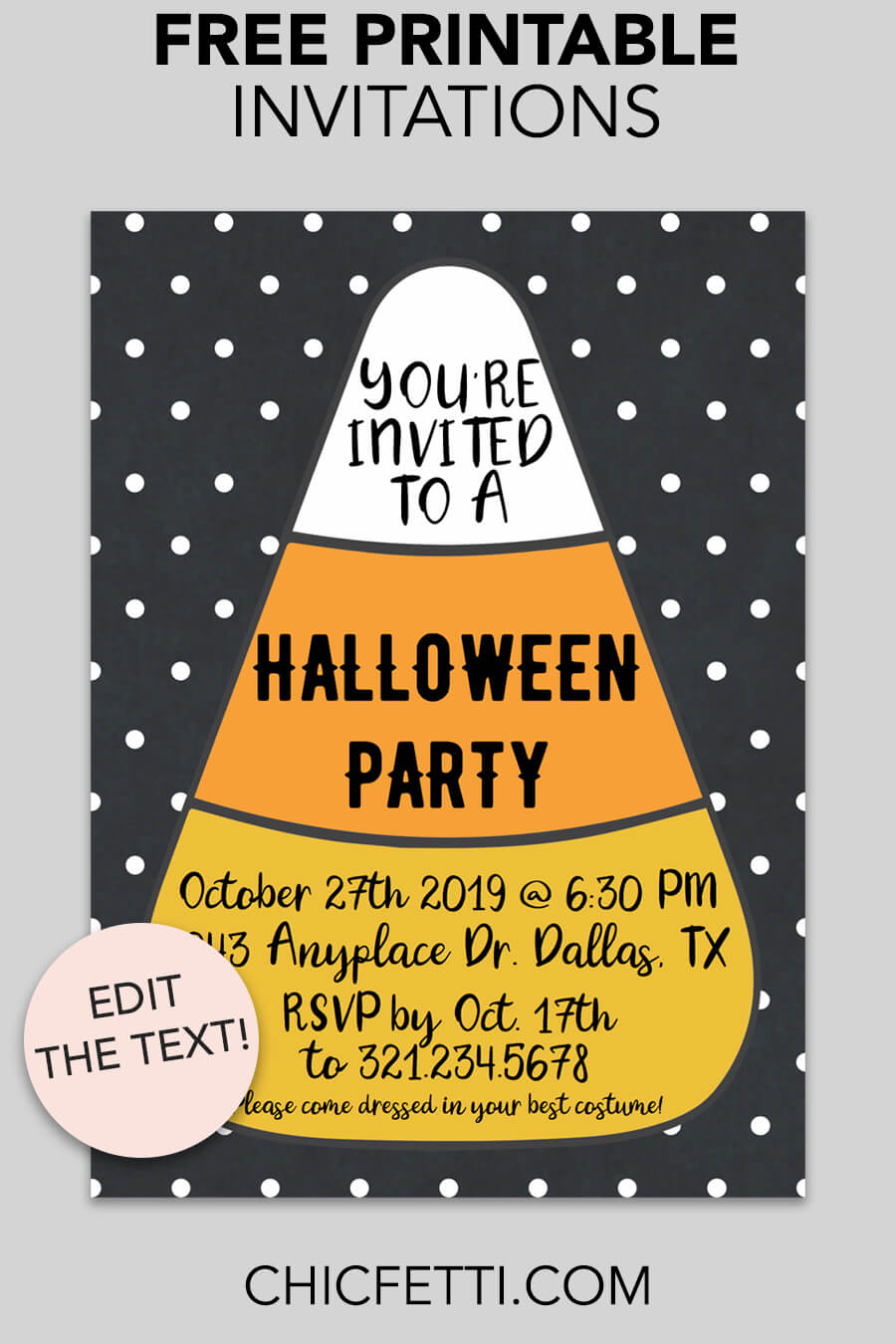 Free Printable Candy Corn Invitation - make your own invitations with this free invitation template. This invitation is a great party idea for any Halloween or Pumpkin Carving party! #partyideas #freeprintable #party #printable #halloween #halloweenideas #invitation #printableinvitation