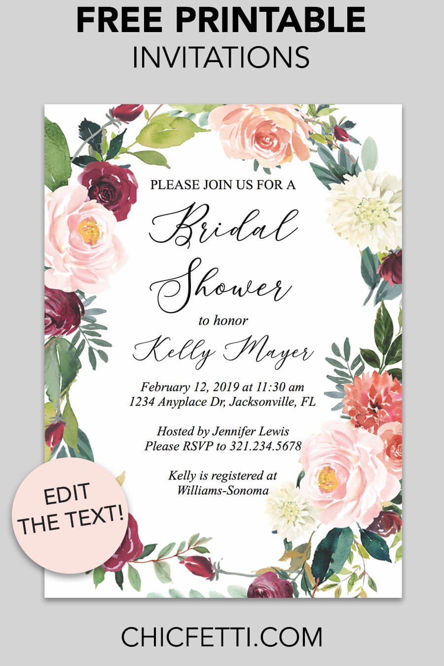 Free Printable Bridal Shower Invitation - download and print these free printable bridal shower invitation templates for the bridal shower you are having. #bridalshower #invitation #invitationtemplate #freeprintable #bridalshowerideas #printableinvitation #printable