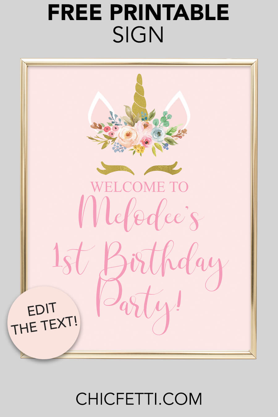 Free Printable Unicorn Party Welcome Sign - download and print this free printable unicorn welcome sign for your party or event. This sign is the perfect sign for a unicorn party. #party #partyideas #unicorn #unicornparty #unicornbirthday #unicornpartyideas #partysign
