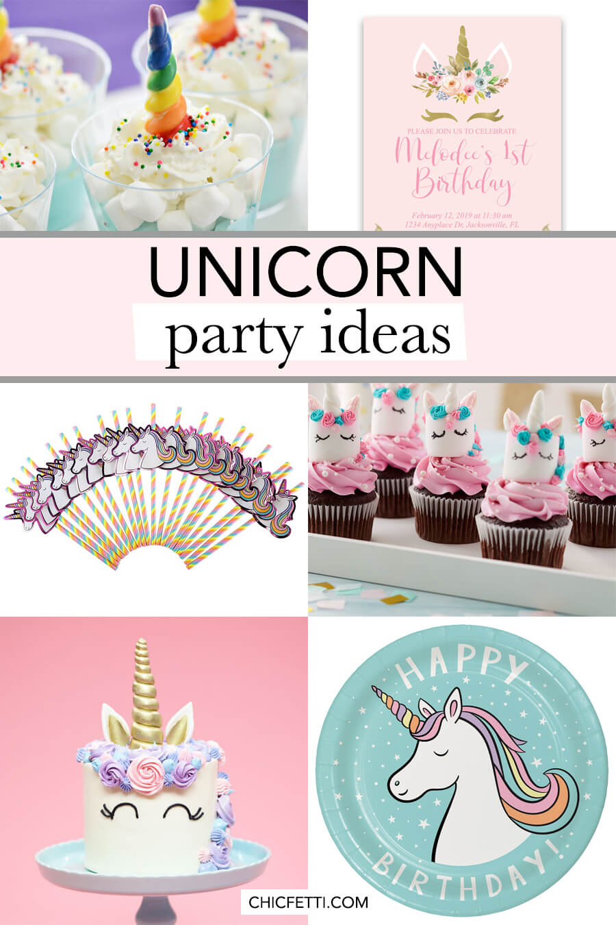 Plan the ultimate unicorn party with these unicorn party ideas! From the invitations to the cake, we have ideas for everything you will need to plan a unicorn birthday party. #unicornparty #unicornpartyideas #partyideas #unicorn #party #unicornbirthday #unicorninvitation