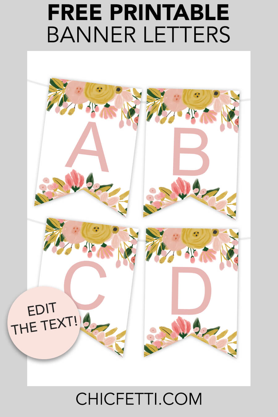 Free Printable Banner - make your own banners with this free printable party banner. This banner is a great party idea for any party! #partyideas #freeprintable #party #banner #bannerletters #printable