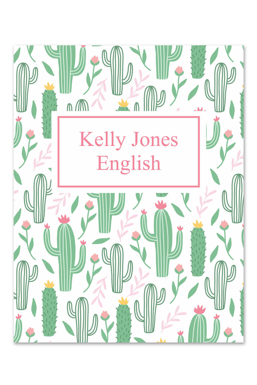 Cactus Printable Binder Cover Chicfetti