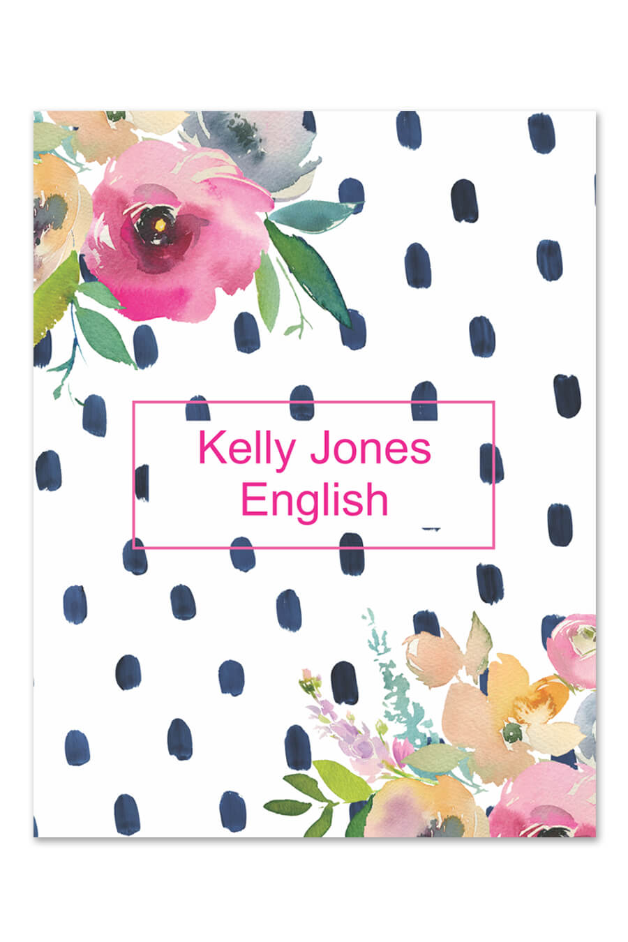 floral watercolor dot binder cover