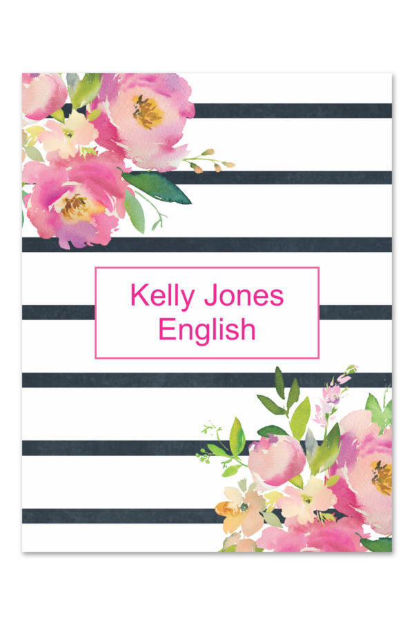 Floral Thin Stripe Binder Cover
