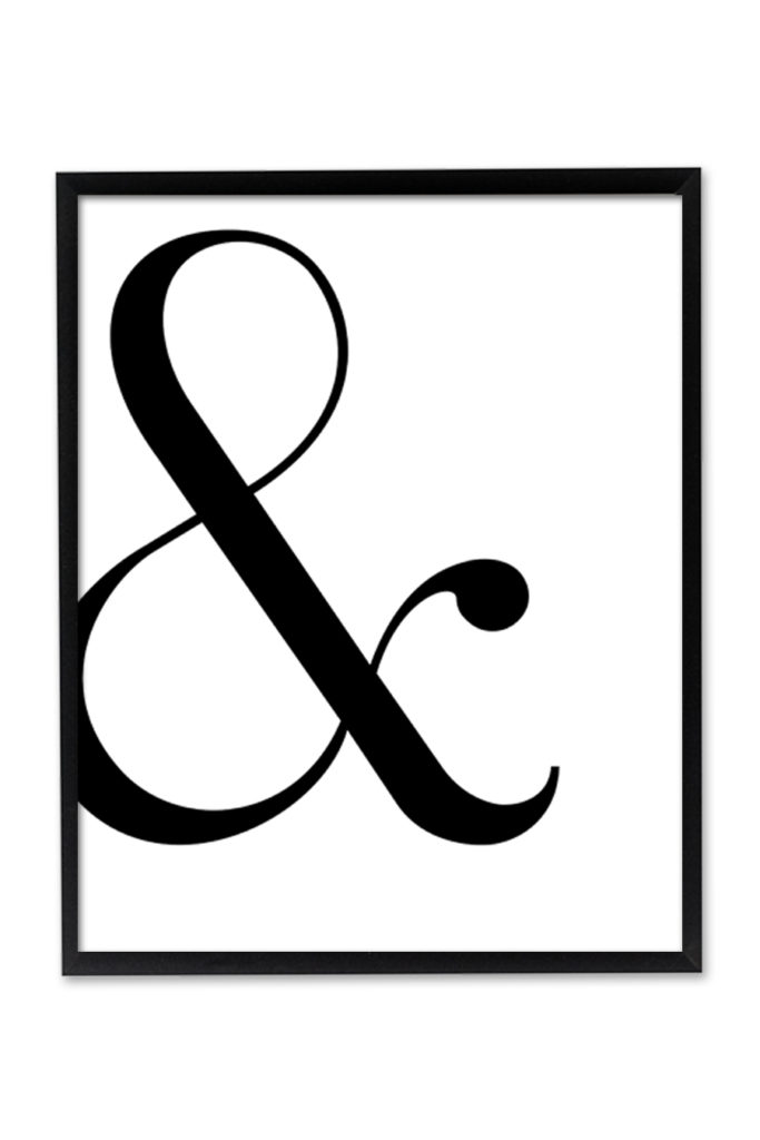 graphic about Free Printable Wall Art Stencils titled Ampersand Wall Artwork - Chicfetti