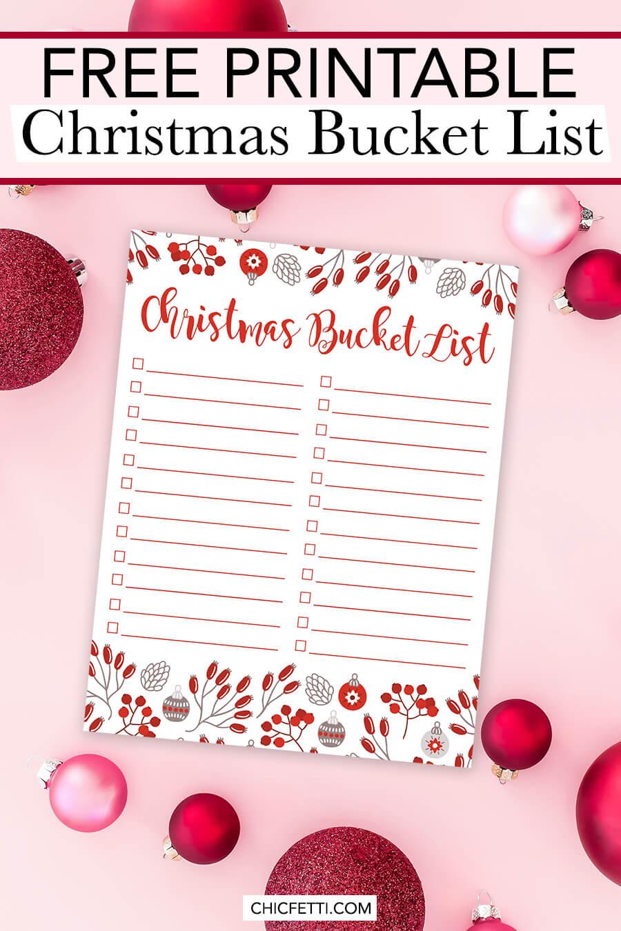 Make your own Christmas bucket list with this free printable Christmas bucket list - just download and fill it out with your own bucket list items #christmas #christmasideas #christmasbucketlist #holidaybucketlist #freeprintable #printable