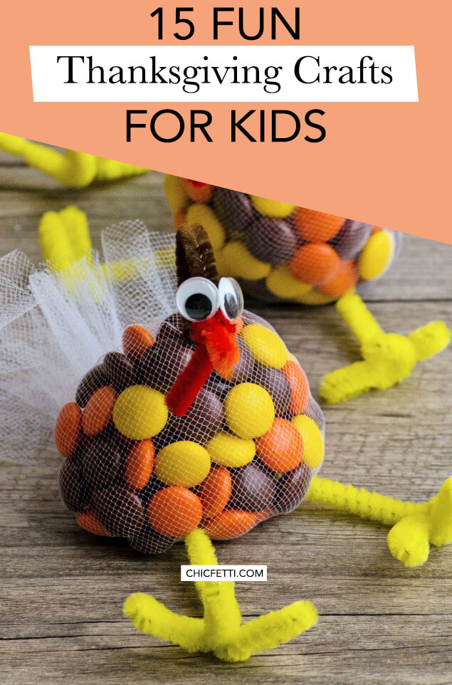 We found 15 fun Thanksgiving crafts for kids that your kids will love to make. Get your kids excited for Thanksgiving by crafting Thanksgiving items. #thanksgiving #thanksgivingideas #thanksgivingcrafts #craftideas #craftsforkids #kidscrafts #turkeycrafts