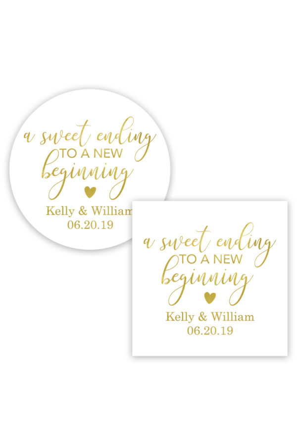 A Sweet Ending to a New Beginning Favor Stickers