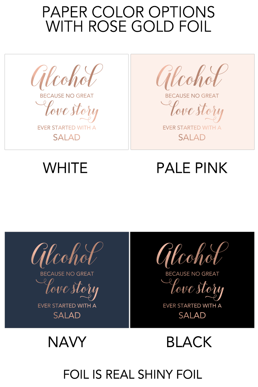 Alcohol Because No Great Love Story Sign