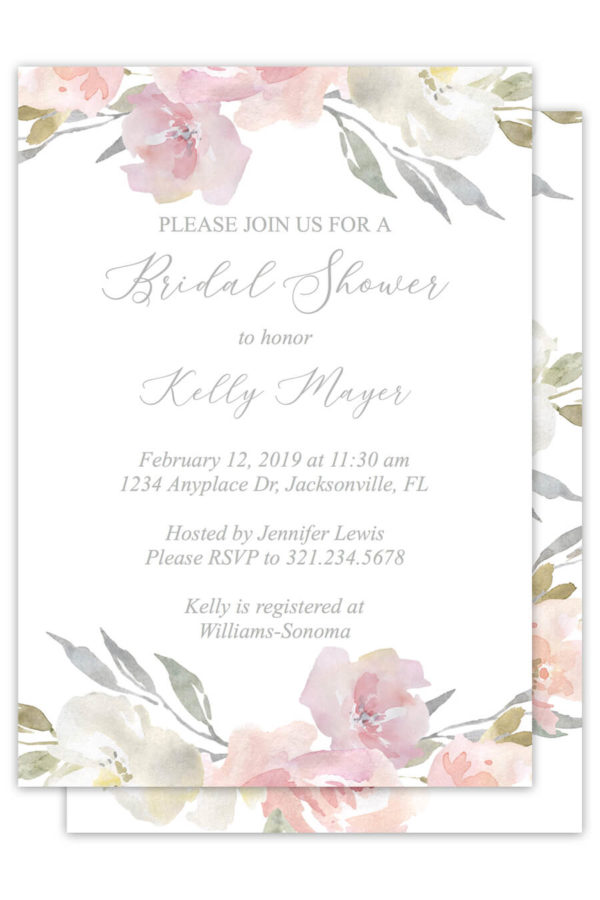 Blush Floral Bridal Shower Invitations