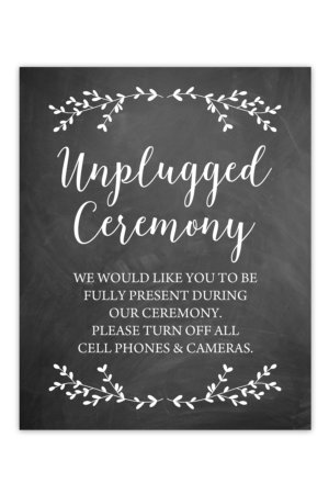 Chalkboard Unplugged Ceremony Sign
